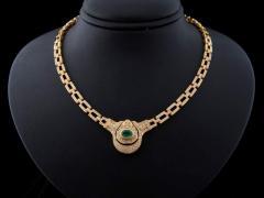 Colar Ouro Com Diamantes e Esmeralda