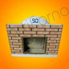 Wood Oven with Brick Panel and Chimney Door
